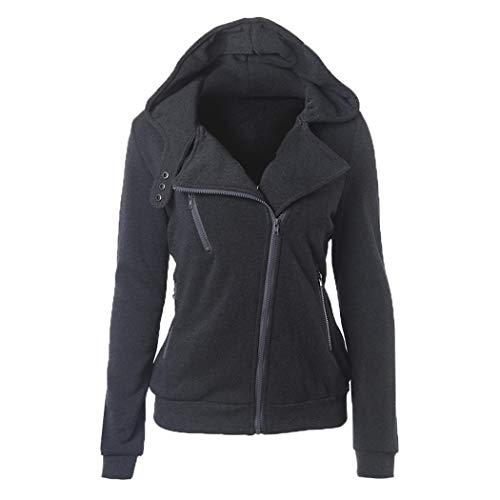 Voipe Damen Mantel Sweatjacke Kapuzenjacke Hoodie Zip Up Jacke Mit Reissverschluss