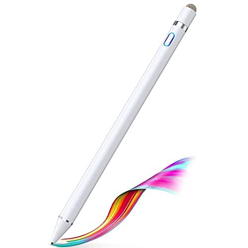 タッチペン Semiro スタイラスペン スマホ対応 極細 タブレット 超高感度 iPad/スマホ/タブレット対応 USB充電式 導電繊維ペン先 銅製 細/太両側使る たっちぺん (White)