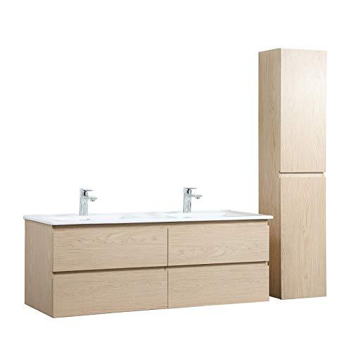 Meuble de Salle de Bain Double Vasque 120 cm + Colonne Chêne Sorrento