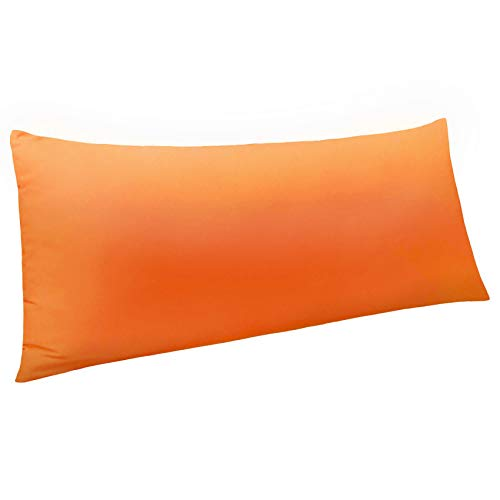 NTBAY Body Pillow Cover, Pillowcase, 100% Brushed Microfiber, Soft and Cozy, Envelope Closure, for Adults Pregnant Women, 20' x 54', Orange