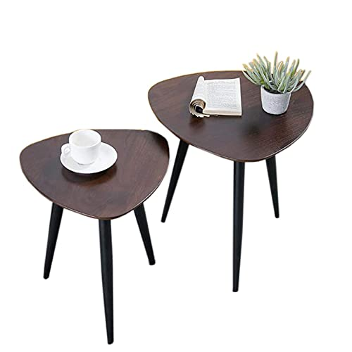 N\C Table Triangle Combination Side Table, 2-Piece Set, Sofa Side Table, Assembly Design for Living Room Bedroom (Color : Black Walnut, Size : 2-Piece Set)