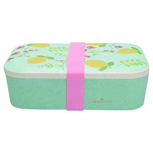 GreenGate - Lunch Box - Sandwichbox - Limona - Zitronen - Bambus - Pale Blue
