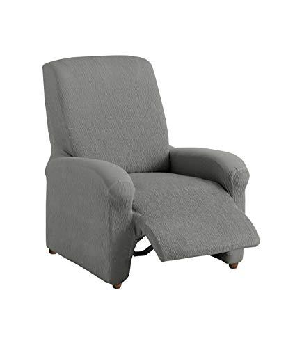 textil-home Funda de Sillón Elástica Relax Completo TEIDE, Tamaño 1 Plaza - Desde 70 a 100 cm. Color Gris