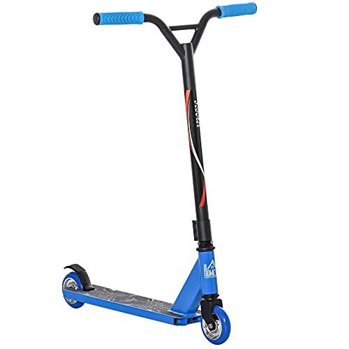 HOMCOM Patinete de Acrobacia Trucos y Saltos Patinete Freestyle de Aluminio para Adolescentes +14 Años y Adultos Carga 100 kg con Manillares de Caucho 68x46x84 cm Azul