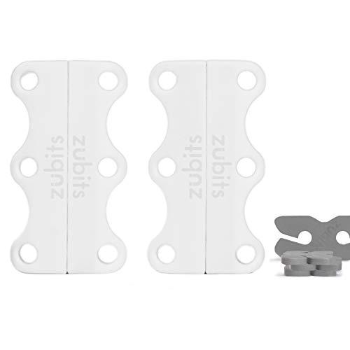 zubits® - Magnetische Schuhbinder/Magnetverschlüsse für Schuhe - Größe #3 Sport/über 84kg in weiß