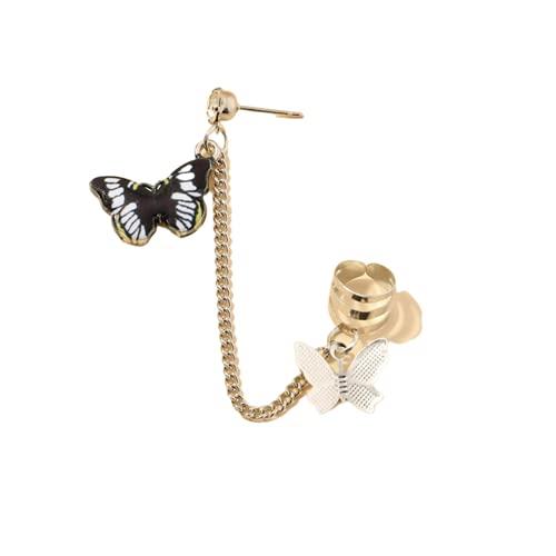 Pendientes con clip de mariposa, gancho para la oreja, pinzas para la oreja de acero inoxidable, pendientes con doble perforación, joyería para mujeres y niñas