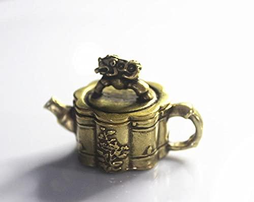 彫刻 レトロな真鍮のミニ貔貅カバー竹のティーポット小さな装飾品香炉水滴と硯文学の遊びは運を助けます
