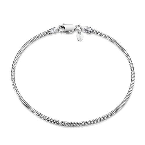 Amberta 925 Sterlingsilber Armkette - Schlangenkette - Rattenschwanz-Kette Armband - 1.9 mm Breite - Verschiedene Längen: 18 19 20 cm (19cm)