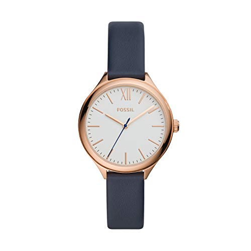 Fossil Women's Suitor Quartz Leather Three-Hand Watch, Color: Rose Gold, Navy (Model: BQ8001)