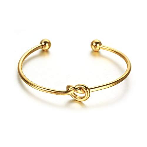 Jewanfix Pulsera chapada en oro de 14 quilates para mujer, diseño de nudo infinito