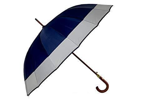 Palucart Ombrello Grande da Uomo e Donna - Antivento, Automatico, Manico e Asta in Legno, 16 Stecche Blu