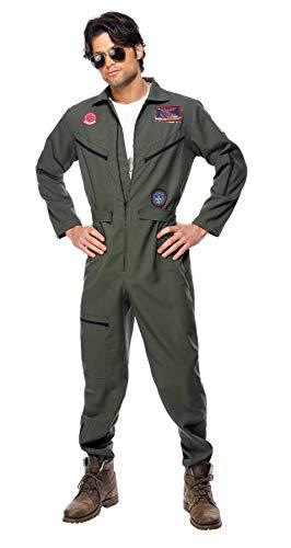 Smiffys, Herren Top Gun Kostüm, Overall, Namensschild und Sonnenbrille, Top Gun, Größe: XL, 36287