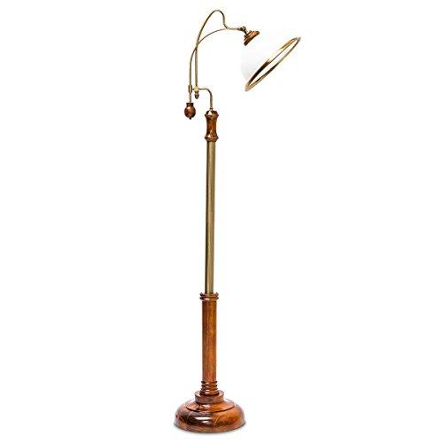 Relaxdays Stehlampe Jugendstil Glasschirm Holzfuß hochwertig verziert, E27