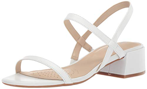 Kenneth Cole New York Women's Maise Low Block Heel Strappy Sandal Heeled, White, 8 M US