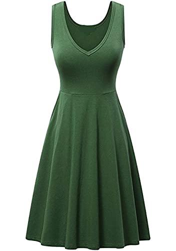 Sweetop Vestidos de playa para mujer para las mujeres vestidos bonitos para las mujeres vestido casual de verano de mujer color liso vestido Swing A Line Midi Tank Verde S
