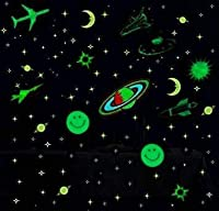 Pack of 5 Sheets that covers the galaxy. 1 Multi-Colored Earth/Jupiter planet (Orange, blue and Green Colored), 152 Stars, 2 medium smileys, 1 moon, 2 Aeroplanes, 6 Spaceships/Rockets and 1 Saturn planet. LONG LENGTH OF GLOW , just place on any clean...