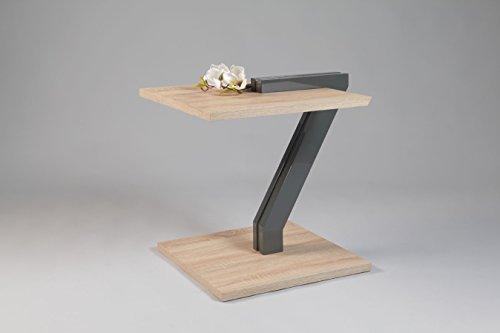 HL Design Beistelltisch Genua | In Sonoma Eiche hell mit Edelstahlrohr