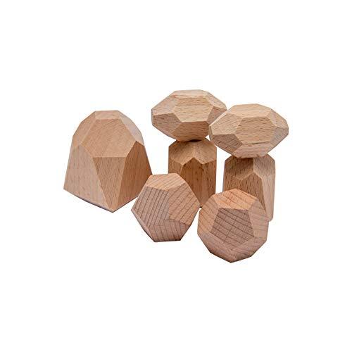 Mamimami Home 積み木 木のおもちゃ 木製パズル 100%の木 7個 安全無塗装 モンテッソーリ 玩具 立体パズル 知育玩具 テーブルゲーム バランスゲーム 指先訓練 子供 幼児 おもちゃ 誕生日 保育園 入園祝い 出産祝い ギフト