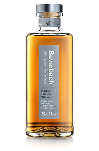Beverbach Single Malt German Whiskey, Deutscher Single Malt Whisky 43% vol., 3-4 Jahre im Eichenfass gelagert (1 x 0.7 l)