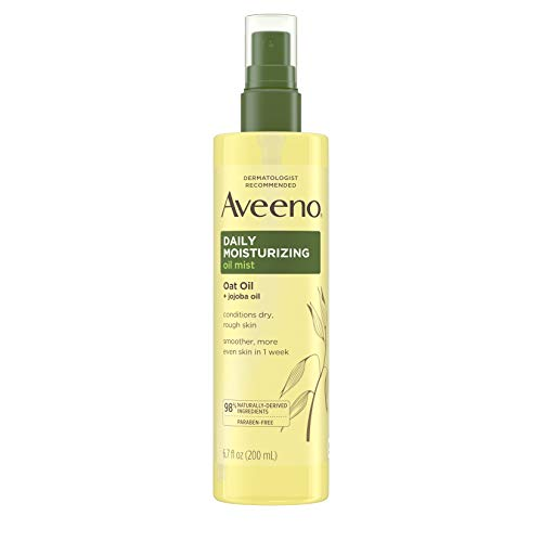 Aveeno Daily Moisturizing Dry Body Oil Mist with Oat and Jojoba Oil for Dry, Rough Sensitive Skin, Nourishing & Hypoallergenic Body Spray, Paraben-, Silicone- & Phthalate-Free, 6.7 fl. oz