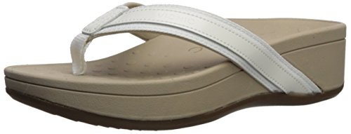 Vionic Women's Pacific High Tide Toepost Sandals – Ladies Platform Flip Flops with Orthotic Arch Support White 8 Medium US