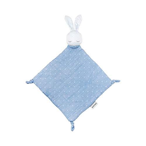 Nattou PURE Schnuffeltuch Hase aus 100% Baumwolle, 29 x 29 x 5,5 cm, Blau, 998277