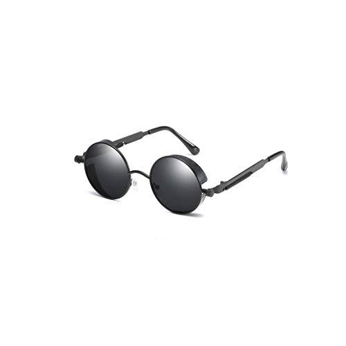 LLKK Gafas de Sol,Gafas de Sol de Montura Redonda Nuevas Patillas de Metal con Tendencia de Primavera Gafas de Sol Retro Punk Gafas de Sol Unisex,Negras (1 Pieza)