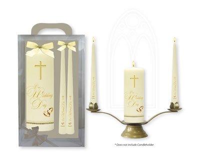 Catholic Gift Shop Ltd Hochzeit Kerzen, mit Gold Kreuzen und Bands & Lourdes Gebet Karte