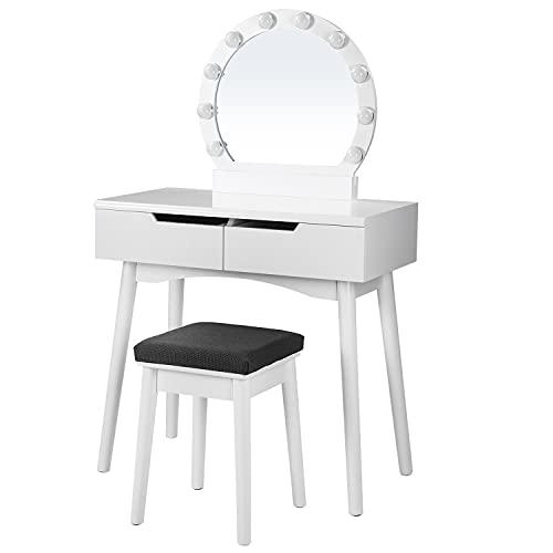 SONGMICS RDT11WL-Tocador con Espejo y Bombillas, para un Maquillaje, Taburete Acolchado, 2 cajones Grandes, Color Blanco, Madera, 80 x 40 x 130,5 cm
