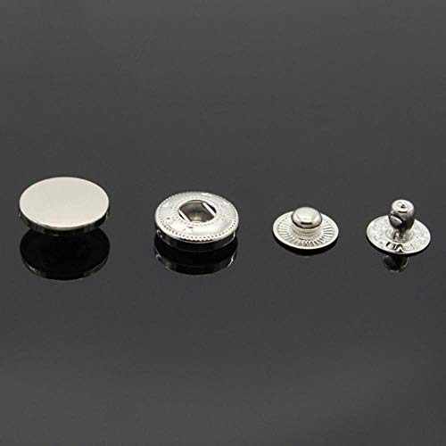 TTYAC 10pcs 10mm-30mm Mix Smooth Snap Fastener Press Buttons Botoes Costura de Cuero Artesanía Ropa Bolsas Accesorios, Jeans botones de Metal, Plata, 17mm