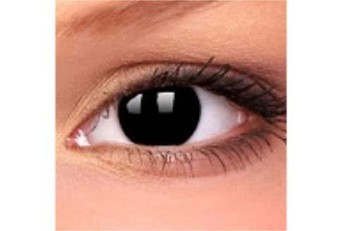 K&F Blackout Blind Kontaktlinsen weich, ohne Pupille für Rollenspiele oder Fetisch (1 Paar) inklusive gratis Aufbewahrungsdöschen