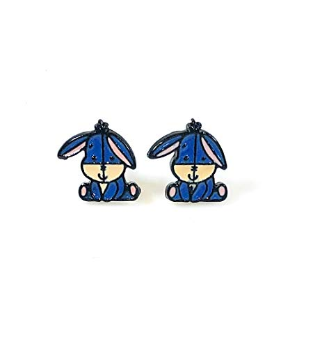 Disneys Inspired Winnie The Pooh Eeyore Character Metal Enamel Stud Earrings Great Gift
