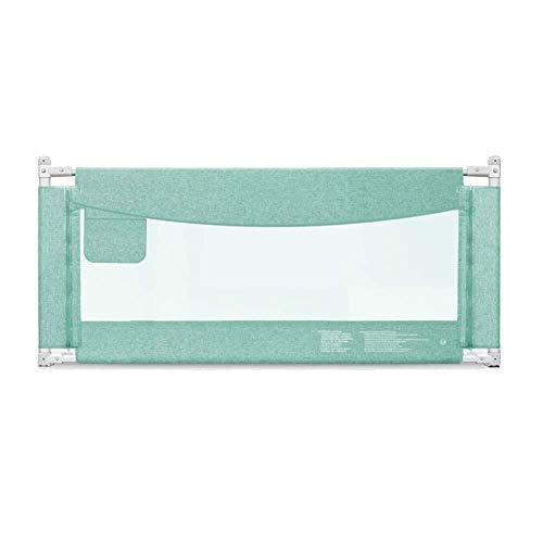 Bettgitter RQ Baby Bruchsicherer Zaun Einseitiges vertikales Heben Faltbar -1,2-2,2 Meter (Color : Green, Size : L-220cm)