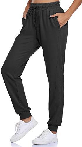 Fulbelle Yoga Pants for Women, Womens Workout Joggers Active Running Sweatpants with Pockets Drawstring Elastic Waistband Teens Girls Soft Beach Pajamas Sweat Leggings Black Medium