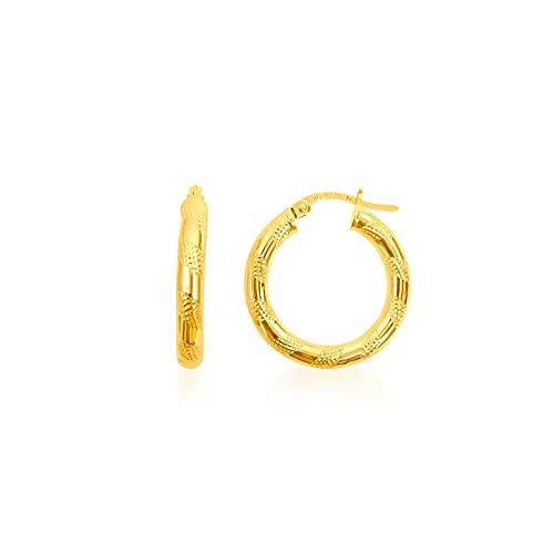 Pendientes de aro redondos de alambre rayado, 20 mm/3 mm, oro amarillo 9 K (375) 1,19 G