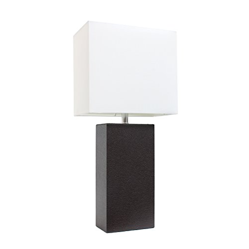"""Elegant Designs LT1025-BWN Modern Leather White Fabric Shade Table Lamp, 3.85"""", Espresso Brown"""