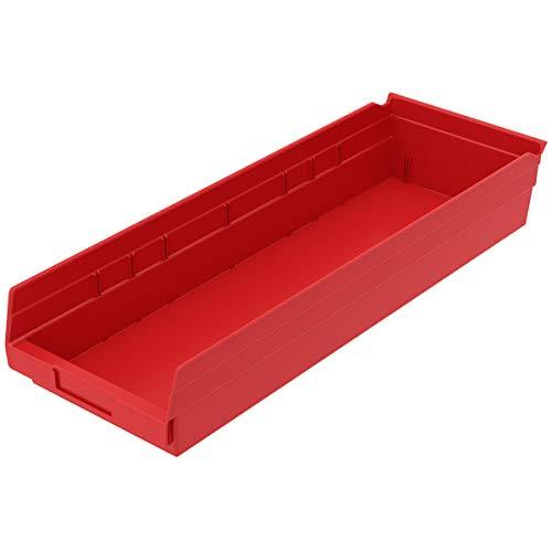 akro-mils 30184 24 van 8 inch van 4 inch kunststof vuilnisemmer box rek nestkast, blauw, geval van 6 rood