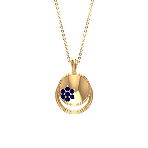 1/4 CT Blue Sapphire Pendant Necklace, Cluster Flower Pendant, Gold Disc Pendant Necklace, 18K Yellow Gold Without Chain