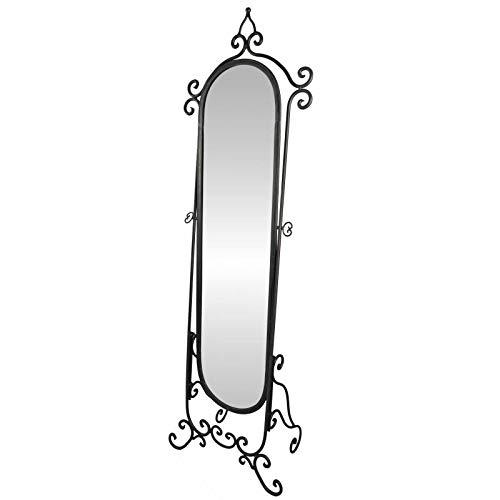 L'Héritier Du Temps Grand Miroir Psyché sur Pied Glace Orientable Meuble de Chambre ou Salle de Bain en Fer Noir 34x53x175cm