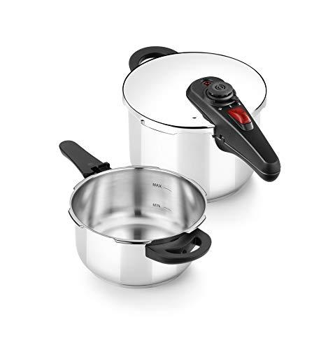 BRA A185805 Allure Set dúo de ollas a presión rápida 4+6 litros, acero inoxidable, apta para todo tipo de cocinas, incluido inducción