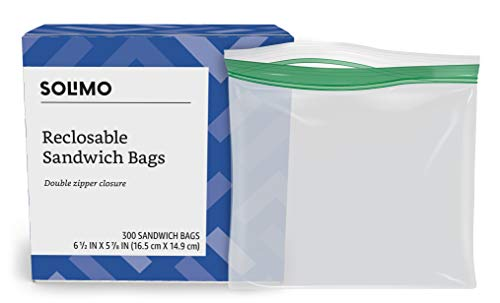 Amazon Brand - Solimo Sandwich Storage Bags, 300 Count