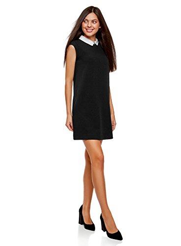 oodji Ultra Damen Ärmelloses Kleid mit Kragen, Schwarz (2900n), XS