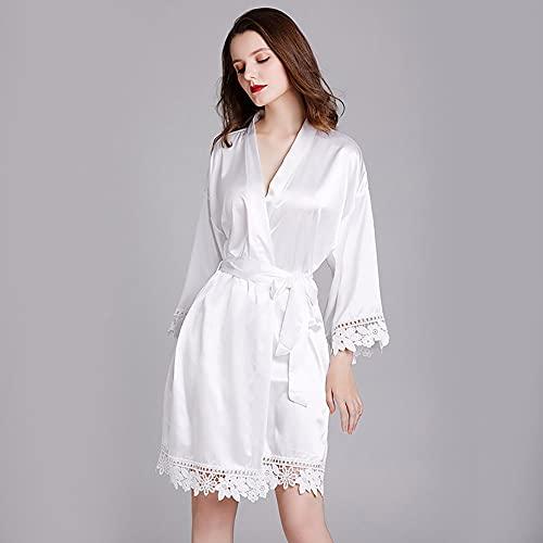 LAMCE Pijamas para Mujer Primavera y Verano de Manga Larga de Talla Grande Seda de Hielo Vestido de Noche para el hogar Albornoz Novia Bata de Dama de Honor White-One Size