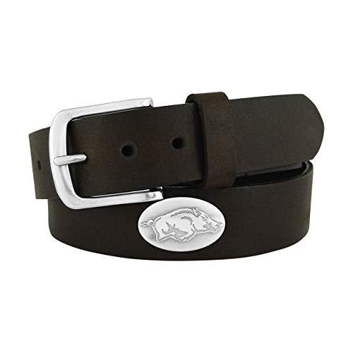 NCAA Arkansas Razorbacks Zep-Pro Leather Concho Belt, Brown, 36-inches
