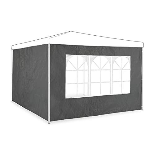 Relaxdays Seitenwand 2er Set, HxB 2x3 m, Pavillonwand mit Fenster, wasserdicht, Seitenteile für Pavillons, grau
