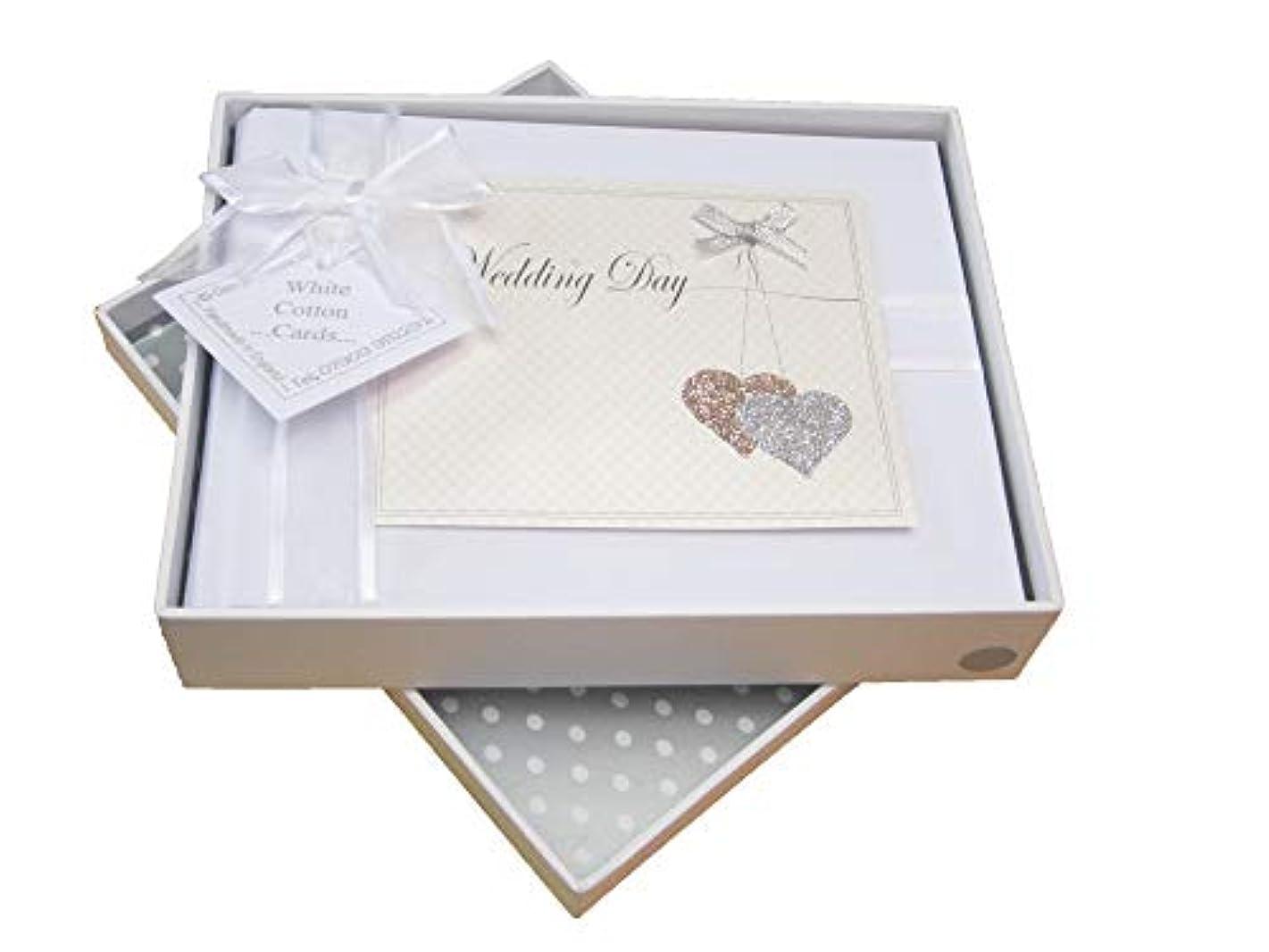White Cotton Cards Wedding Day Photo Album, Love Hearts Design (LLH1S)