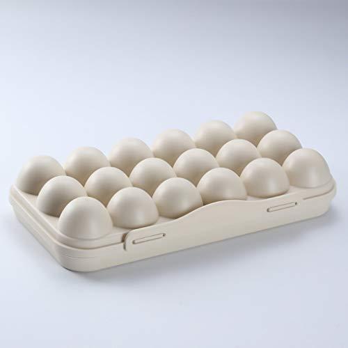 Wffo Caja de Almacenamiento para Huevos Seguros y sólidos, contenedor de Almacenamiento para refrigerador y refrigerador, Puede Contener 18 Huevos