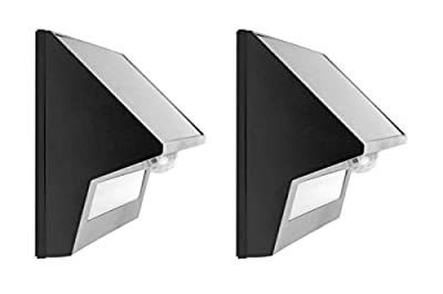 Hyperikon LED Solar Lights Outdoor, Half Cut Off, Wall Pack Fence Sconce, 4000K Daylight, PIR and Photocell Sensor 2 Pack
