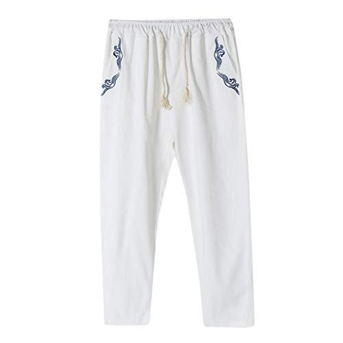 BOLANQ Hosen Herren Herrenmode Harem mit weitem Schritt Baumwolle Leinen Hose mit weitem Bein Cropped Trousers(Large,Weiß)