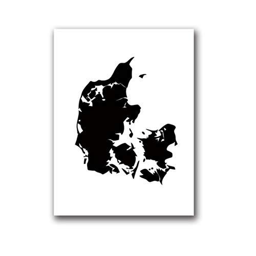 Rjunjie Impresiones de Carteles de Mapa de país en Blanco y Negro, Mapa de Islandia Dinamarca Noruega Suecia Finlandia Lienzo Pintura decoración de Arte de Pared (50x70 cm sin Marco)